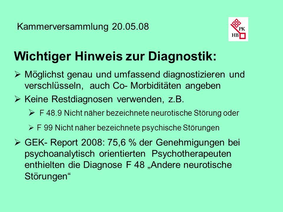 Kammerversammlung 20.05.08 Wichtiger Hinweis zur Diagnostik: Möglichst genau und umfassend diagnostizieren und verschlüsseln, auch Co- Morbiditäten an