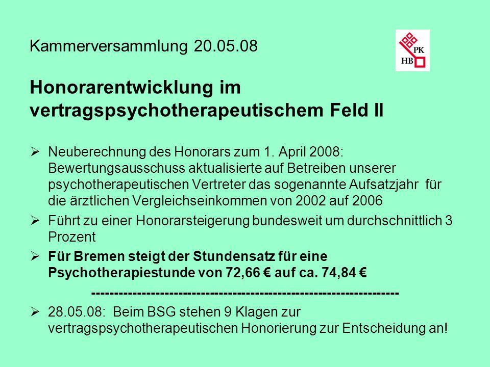 Kammerversammlung 20.05.08 Honorarentwicklung im vertragspsychotherapeutischem Feld II Neuberechnung des Honorars zum 1. April 2008: Bewertungsausschu