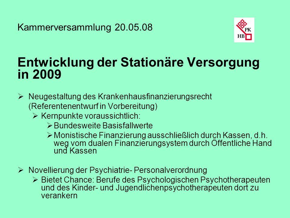 Kammerversammlung 20.05.08 Entwicklung der Stationäre Versorgung in 2009 Neugestaltung des Krankenhausfinanzierungsrecht (Referentenentwurf in Vorbere