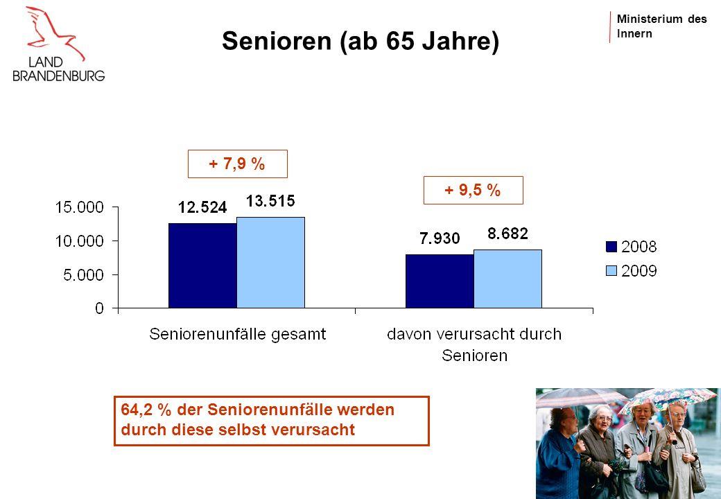 Ministerium des Innern Verunglückte Kinder (0 bis 14 Jahre) - 0,5 % - 10,9 %+ 14,6 % 47 % der Kinder als Mitfahrer verunglückt