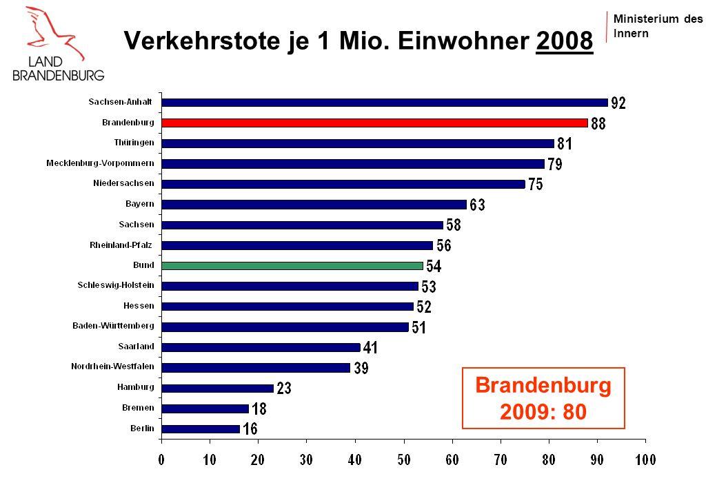 Ministerium des Innern Personenschadensunfälle je 100.000 Einwohner 2008 Brandenburg 2009: 341