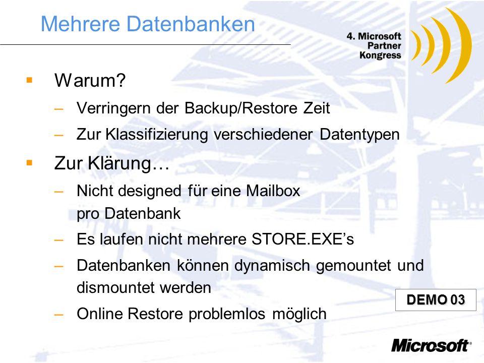 Grundsätzliches Skalierbarkeit –Mehrere Datenbanken pro Server –Front End / Back End trennbar Performance –Nativer Content Store (*.stm) Funktionalitä