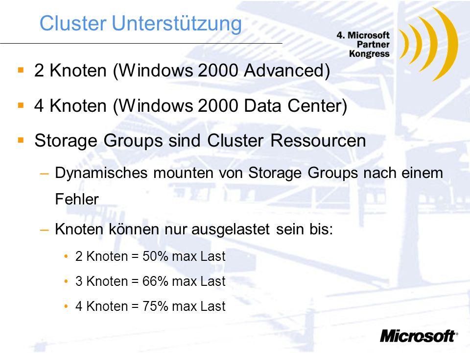 Multiple MDB Szenarien Verschiedene Firmen auf einem Server VIP Mailboxen Große Public Folder Applikationen Zu beachten: –Plattenplatz –Anzahl der Pla
