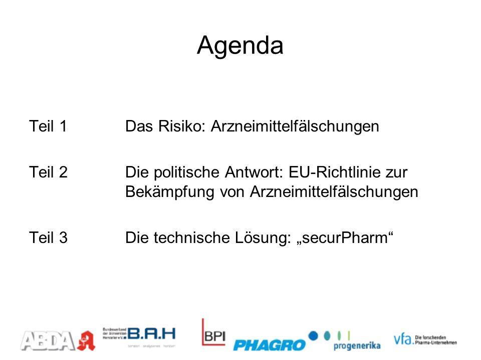 Agenda Teil 1Das Risiko: Arzneimittelfälschungen Teil 2Die politische Antwort: EU-Richtlinie zur Bekämpfung von Arzneimittelfälschungen Teil 3Die tech