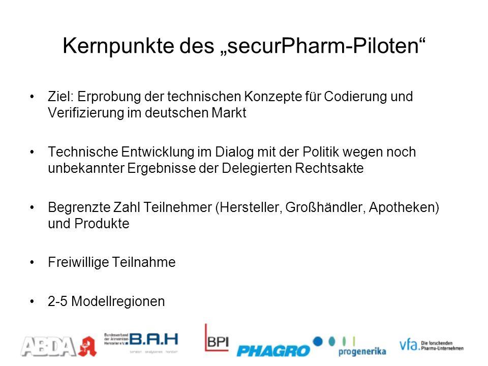 Kernpunkte des securPharm-Piloten Ziel: Erprobung der technischen Konzepte für Codierung und Verifizierung im deutschen Markt Technische Entwicklung i