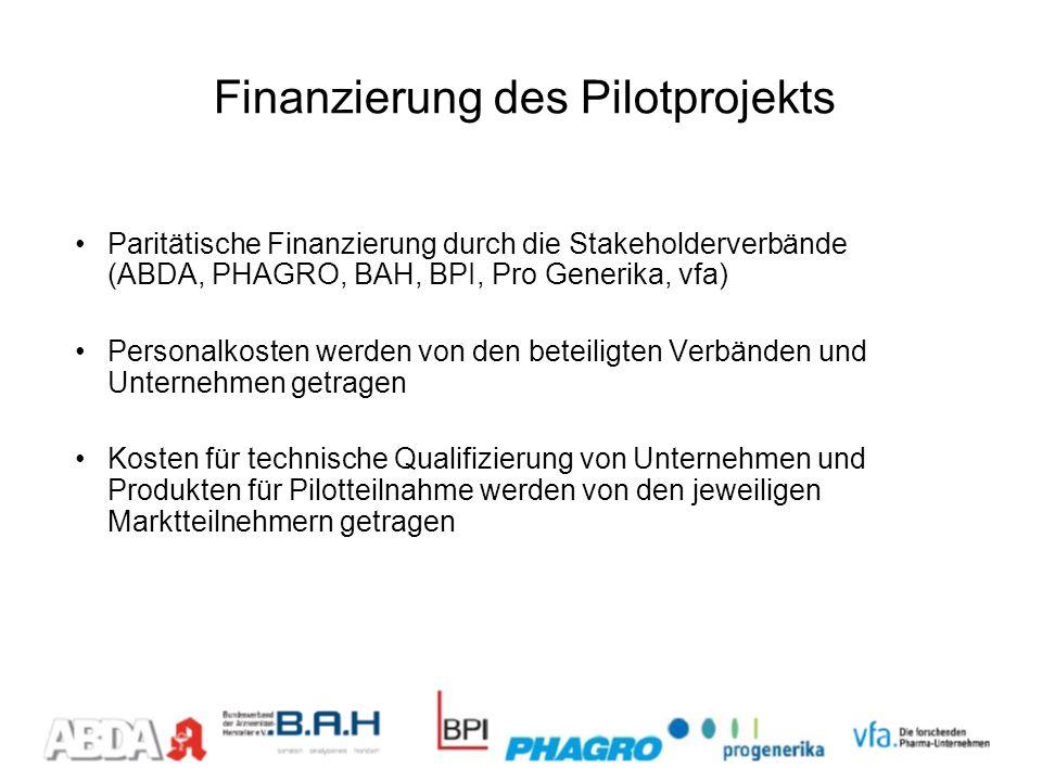 Finanzierung des Pilotprojekts Paritätische Finanzierung durch die Stakeholderverbände (ABDA, PHAGRO, BAH, BPI, Pro Generika, vfa) Personalkosten werd