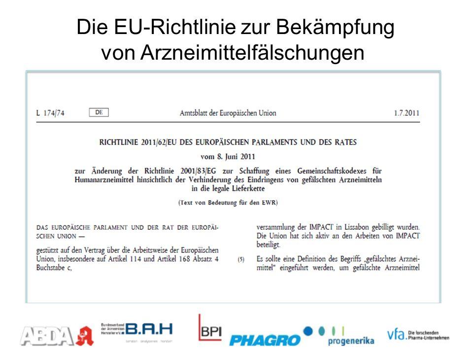 Umsetzungsfristen EU-Richtlinie (Sicherheitsmerkmale) Juli 2011Inkrafttreten der Richtlinie einschließlich Ermächtigung der Kommission zum Erlass Delegierter Rechtsakte 2013/14*voraussichtlicher Erlass der Delegierten Rechtsakte 2016/173 Jahre nach Veröffentlichung der Delegierten Rechtsakte: Umsetzung der Sicherheitsmerkmale im Markt * Start securPharm Pilotprojekt