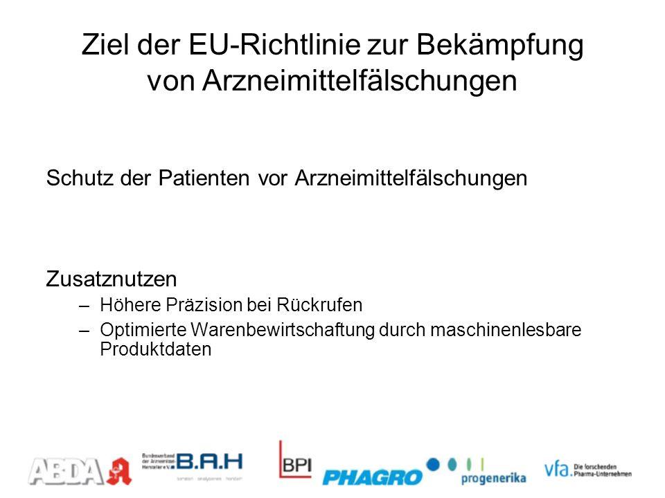 Ziel der EU-Richtlinie zur Bekämpfung von Arzneimittelfälschungen Schutz der Patienten vor Arzneimittelfälschungen Zusatznutzen –Höhere Präzision bei