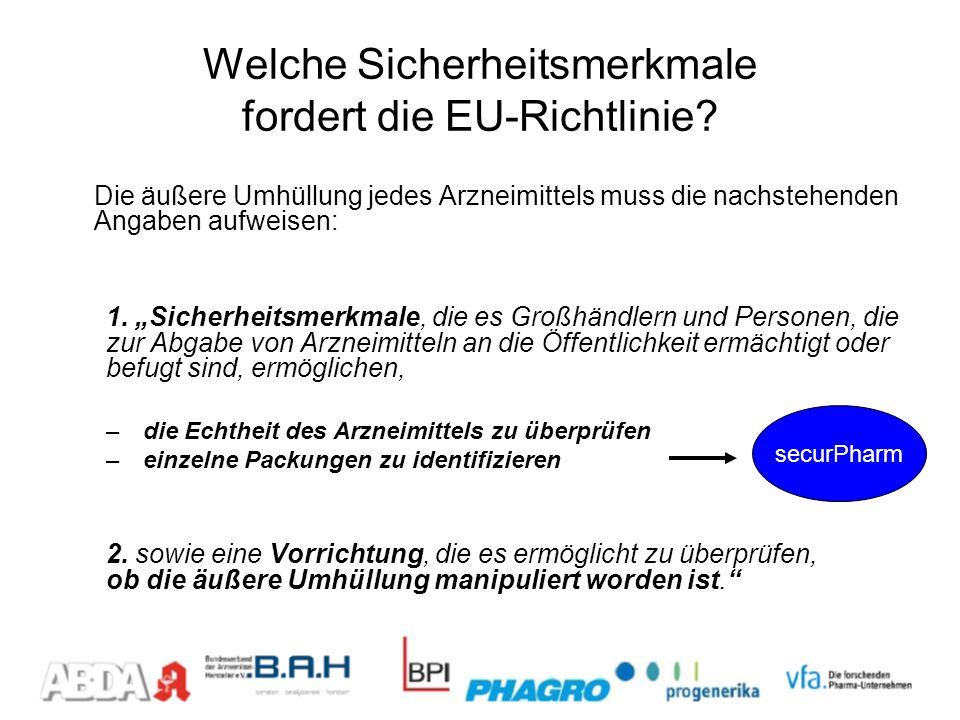 Welche Sicherheitsmerkmale fordert die EU-Richtlinie? Die äußere Umhüllung jedes Arzneimittels muss die nachstehenden Angaben aufweisen: 1. Sicherheit