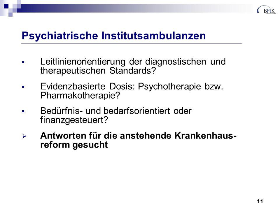 11 Leitlinienorientierung der diagnostischen und therapeutischen Standards? Evidenzbasierte Dosis: Psychotherapie bzw. Pharmakotherapie? Bedürfnis- un
