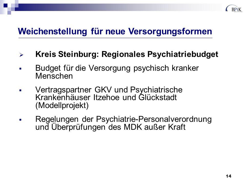 14 Kreis Steinburg: Regionales Psychiatriebudget Budget für die Versorgung psychisch kranker Menschen Vertragspartner GKV und Psychiatrische Krankenhä
