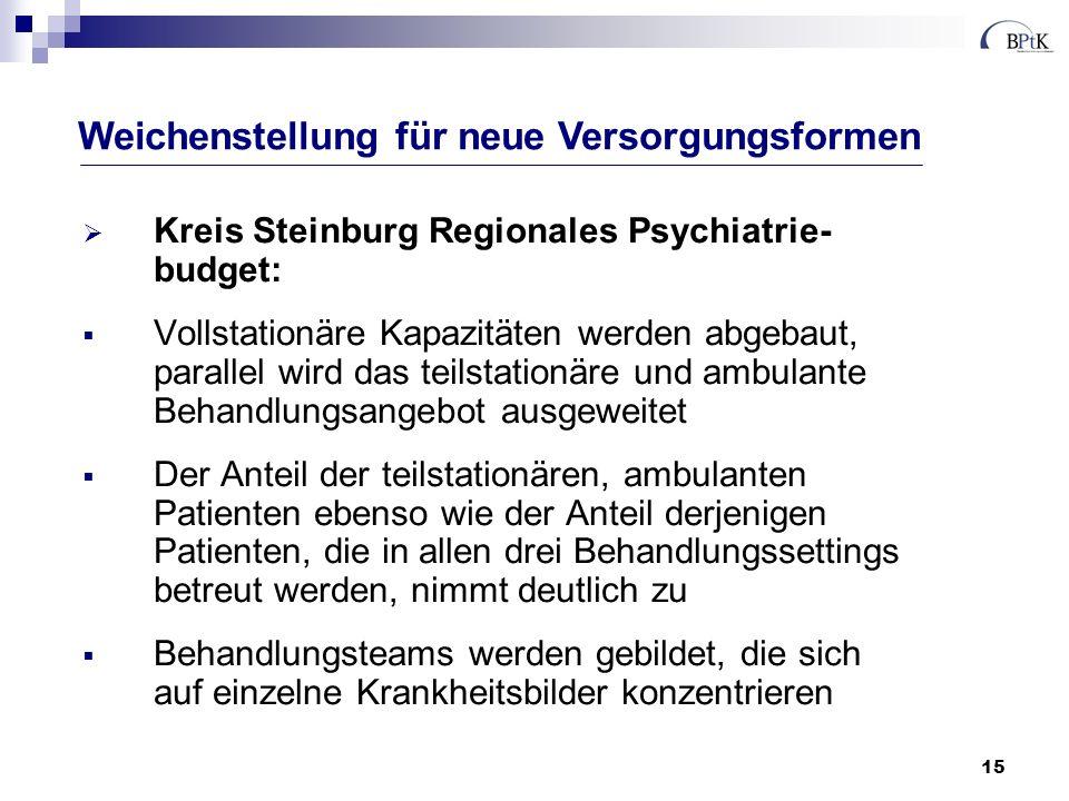 15 Kreis Steinburg Regionales Psychiatrie- budget: Vollstationäre Kapazitäten werden abgebaut, parallel wird das teilstationäre und ambulante Behandlu