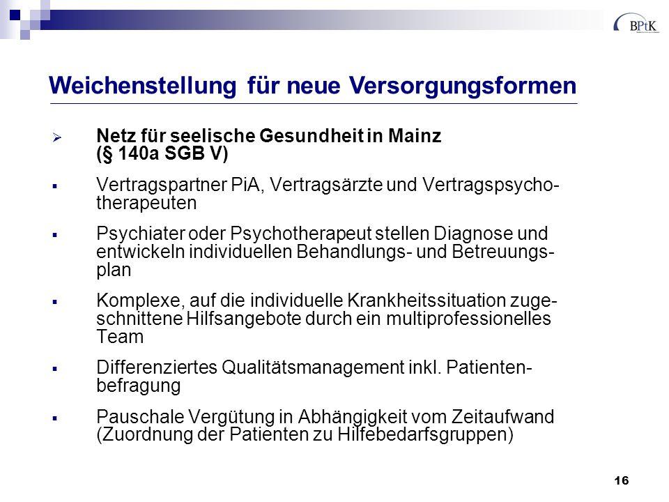 16 Netz für seelische Gesundheit in Mainz (§ 140a SGB V) Vertragspartner PiA, Vertragsärzte und Vertragspsycho- therapeuten Psychiater oder Psychother