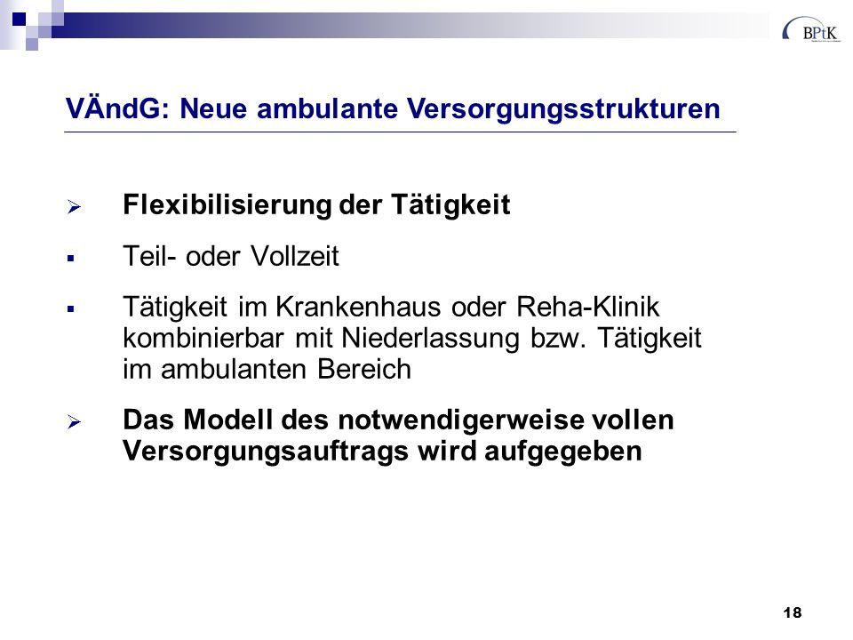 18 Flexibilisierung der Tätigkeit Teil- oder Vollzeit Tätigkeit im Krankenhaus oder Reha-Klinik kombinierbar mit Niederlassung bzw. Tätigkeit im ambul