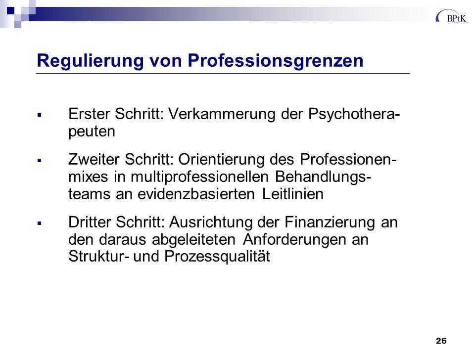 26 Erster Schritt: Verkammerung der Psychothera- peuten Zweiter Schritt: Orientierung des Professionen- mixes in multiprofessionellen Behandlungs- tea