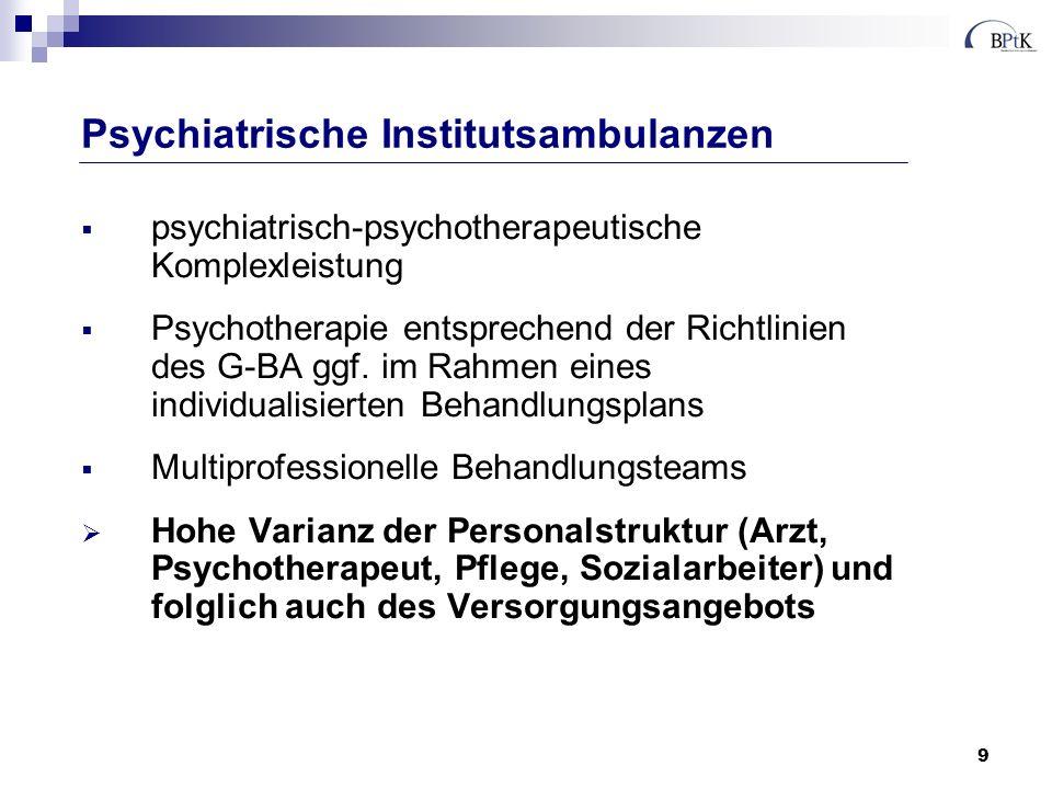 9 psychiatrisch-psychotherapeutische Komplexleistung Psychotherapie entsprechend der Richtlinien des G-BA ggf. im Rahmen eines individualisierten Beha