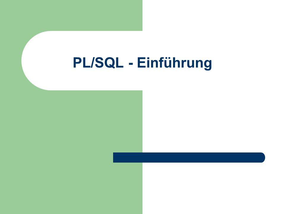 PL/SQL - Einführung