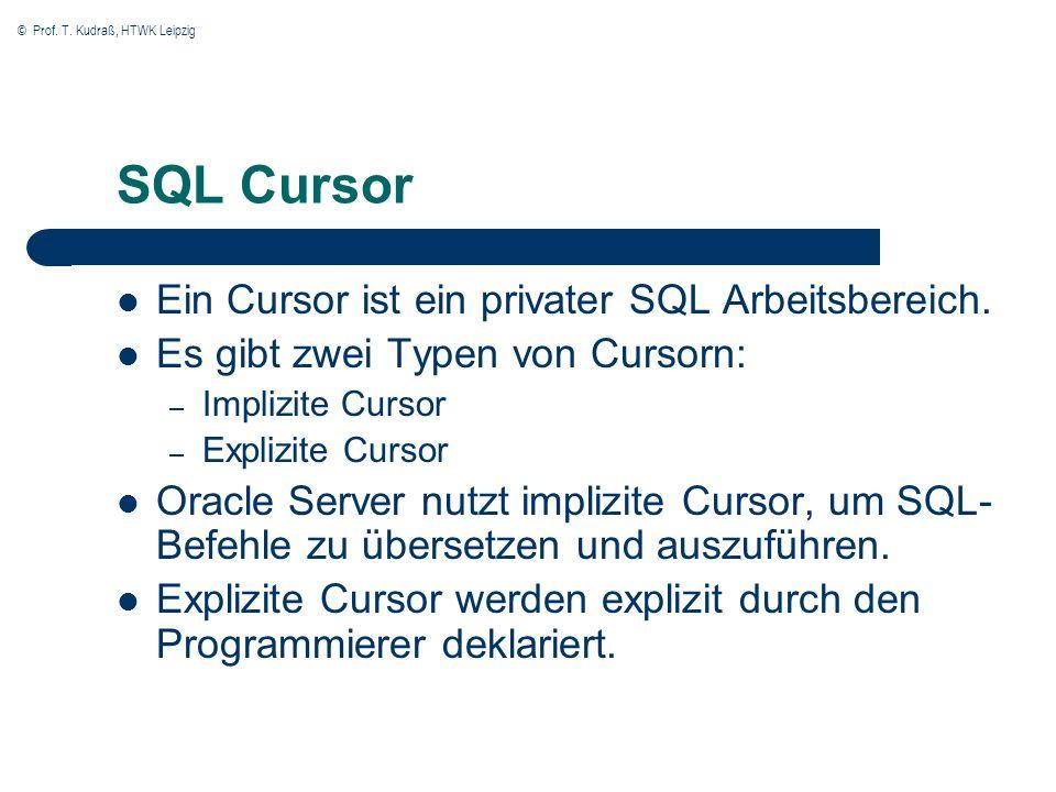 © Prof. T. Kudraß, HTWK Leipzig SQL Cursor Ein Cursor ist ein privater SQL Arbeitsbereich.