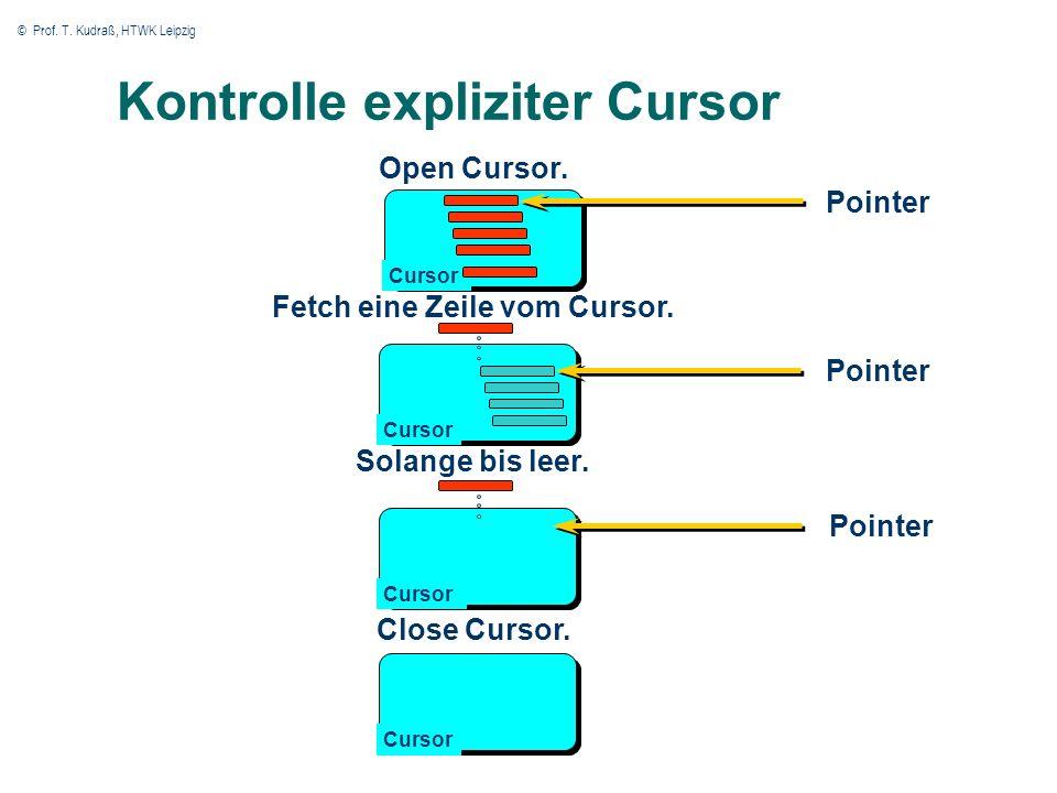 © Prof. T. Kudraß, HTWK Leipzig Kontrolle expliziter Cursor Open Cursor.