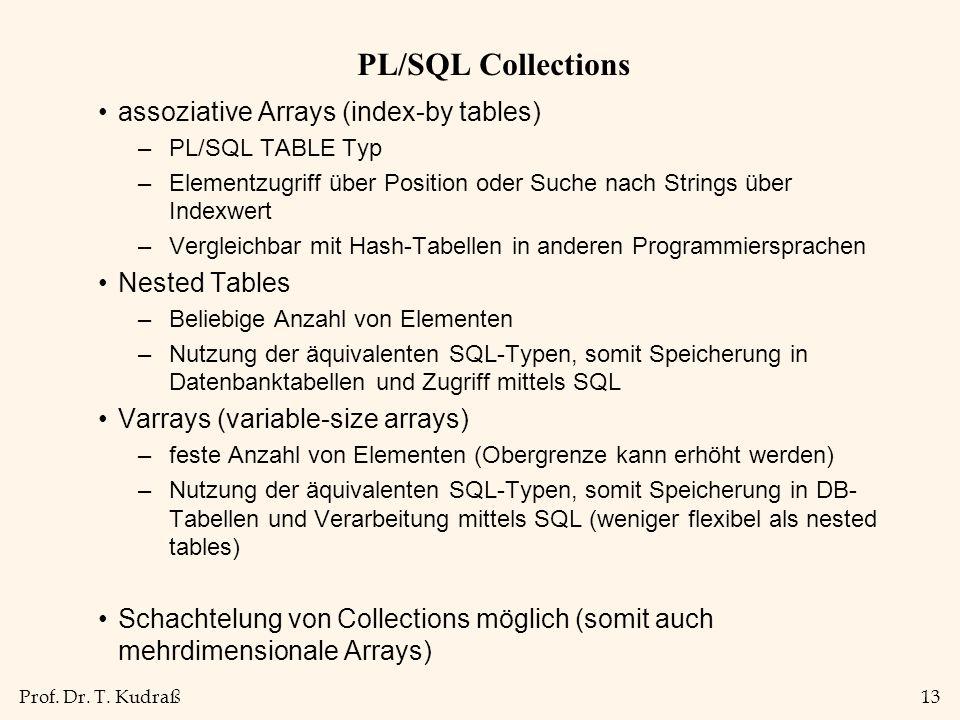 Prof. Dr. T. Kudraß13 PL/SQL Collections assoziative Arrays (index-by tables) –PL/SQL TABLE Typ –Elementzugriff über Position oder Suche nach Strings