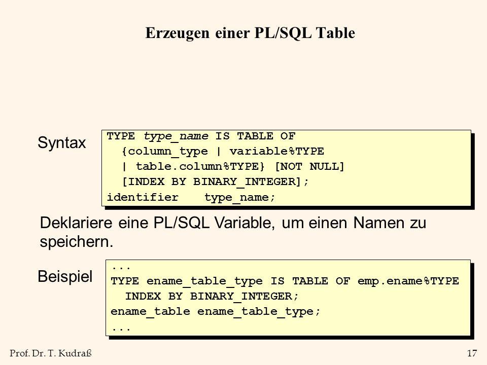 Prof. Dr. T. Kudraß17 Erzeugen einer PL/SQL Table Syntax TYPE type_name IS TABLE OF {column_type | variable%TYPE | table.column%TYPE} [NOT NULL] [INDE