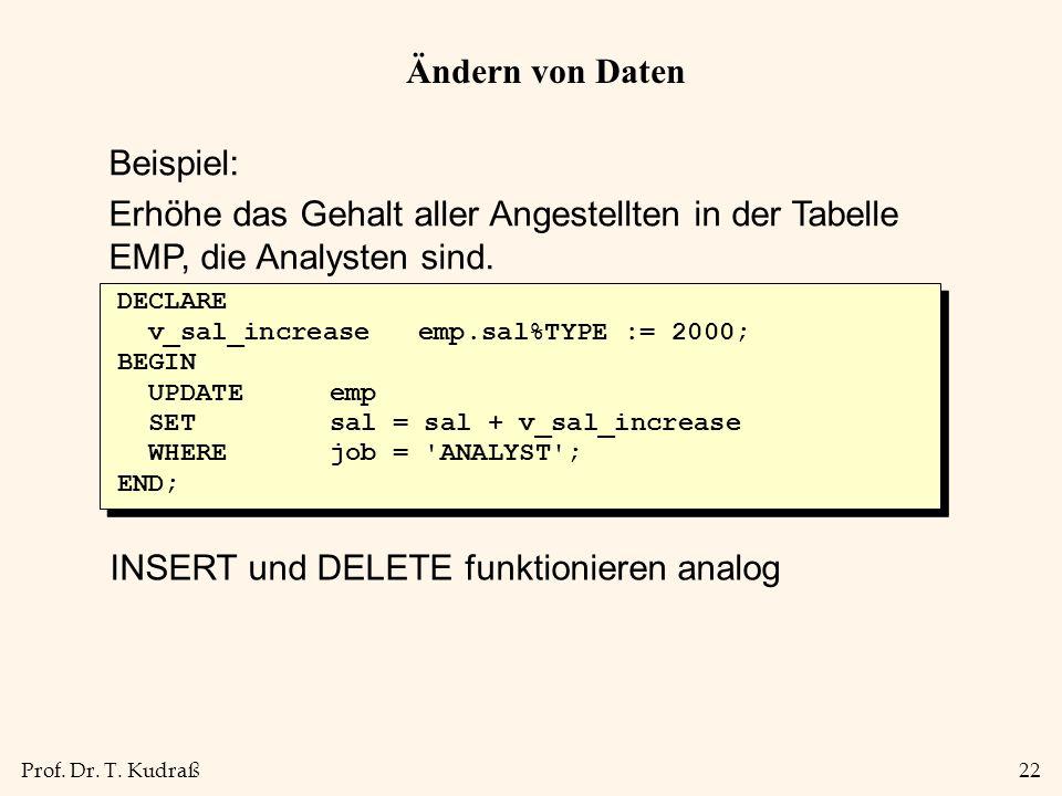 Prof. Dr. T. Kudraß22 Ändern von Daten Beispiel: Erhöhe das Gehalt aller Angestellten in der Tabelle EMP, die Analysten sind. DECLARE v_sal_increase e