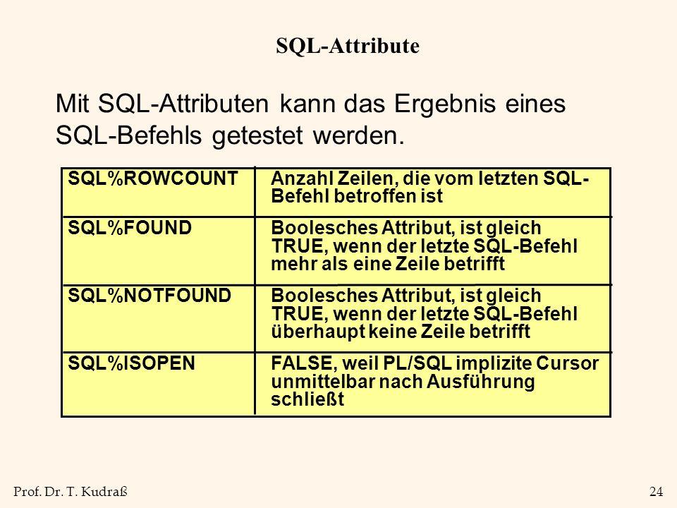 Prof. Dr. T. Kudraß24 SQL-Attribute Mit SQL-Attributen kann das Ergebnis eines SQL-Befehls getestet werden. SQL%ROWCOUNTAnzahl Zeilen, die vom letzten