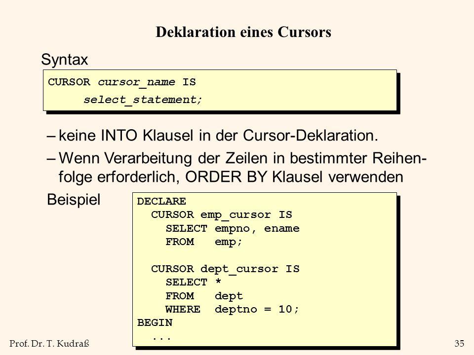 Prof. Dr. T. Kudraß35 Deklaration eines Cursors Syntax –keine INTO Klausel in der Cursor-Deklaration. –Wenn Verarbeitung der Zeilen in bestimmter Reih