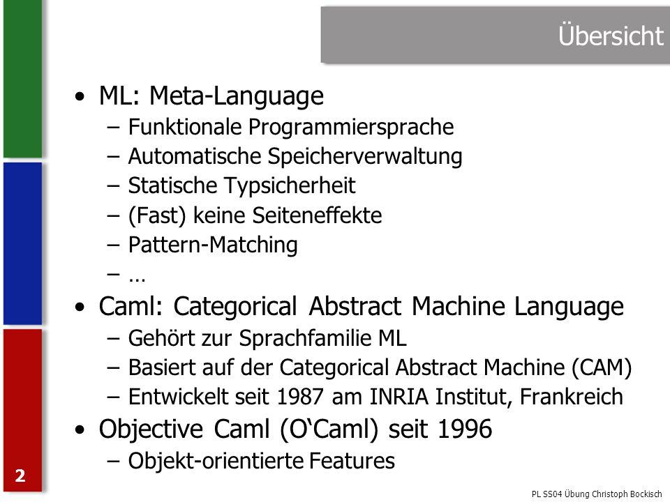 PL SS04 Übung Christoph Bockisch 23 Higher-Order Funktionen Eine First-Order Funktion ist eine Funktion, deren Argument und Wert Daten sind Bei einer Second-Order Funktion ist Argument oder Wert eine First-Order Funktion Eine Higher-Order Funktion hat beliebige Funktionen als Argument oder Wert OCaml unterstützt Higher-Order Funktionen