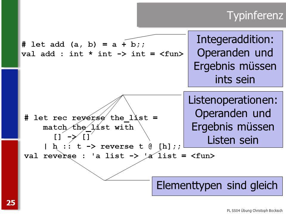 PL SS04 Übung Christoph Bockisch 25 Typinferenz # let add (a, b) = a + b;; val add : int * int -> int = Integeraddition: Operanden und Ergebnis müssen