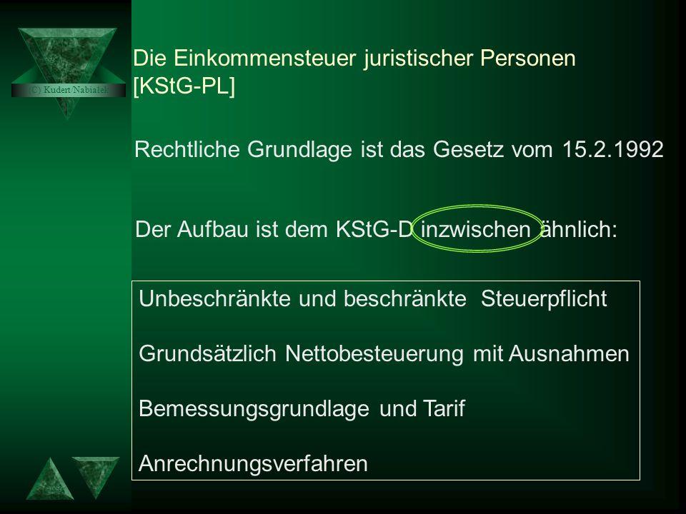 Das KStG-PL Das SWZG Das VATU von Prof. Dr. St. Kudert und Dr. Jarosław Nabiałek Das EStG-PL Überblick über das polnische Steuerrecht