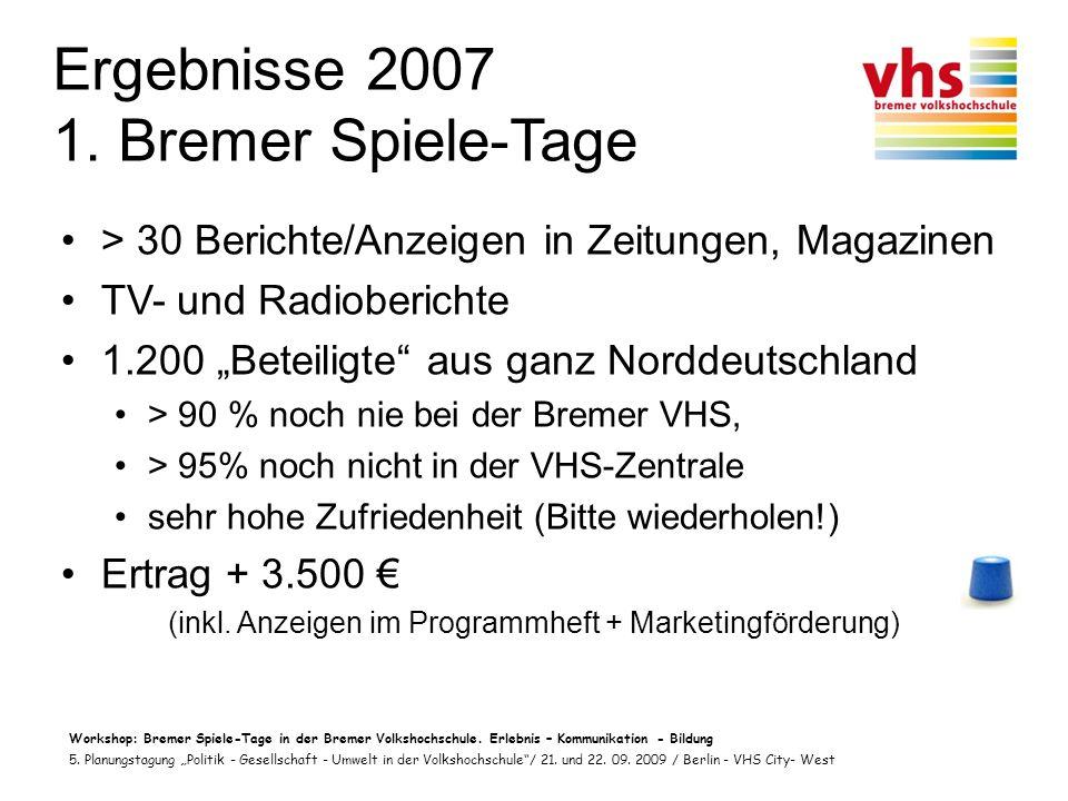 Workshop: Bremer Spiele-Tage in der Bremer Volkshochschule. Erlebnis – Kommunikation - Bildung 5. Planungstagung Politik - Gesellschaft - Umwelt in de