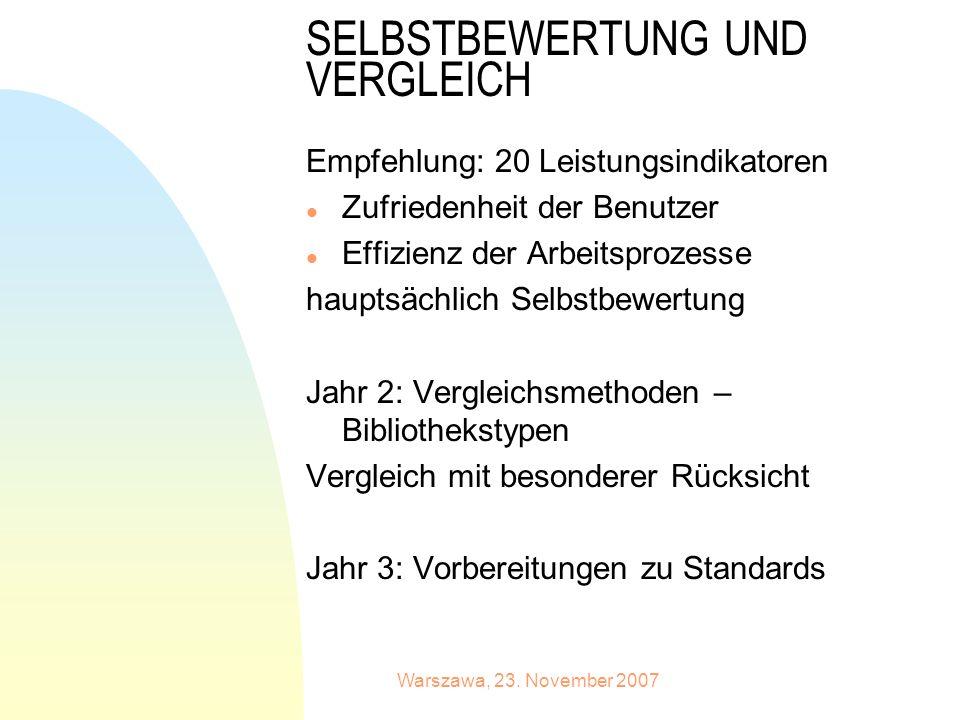 Warszawa, 23. November 2007 SELBSTBEWERTUNG UND VERGLEICH Empfehlung: 20 Leistungsindikatoren l Zufriedenheit der Benutzer l Effizienz der Arbeitsproz