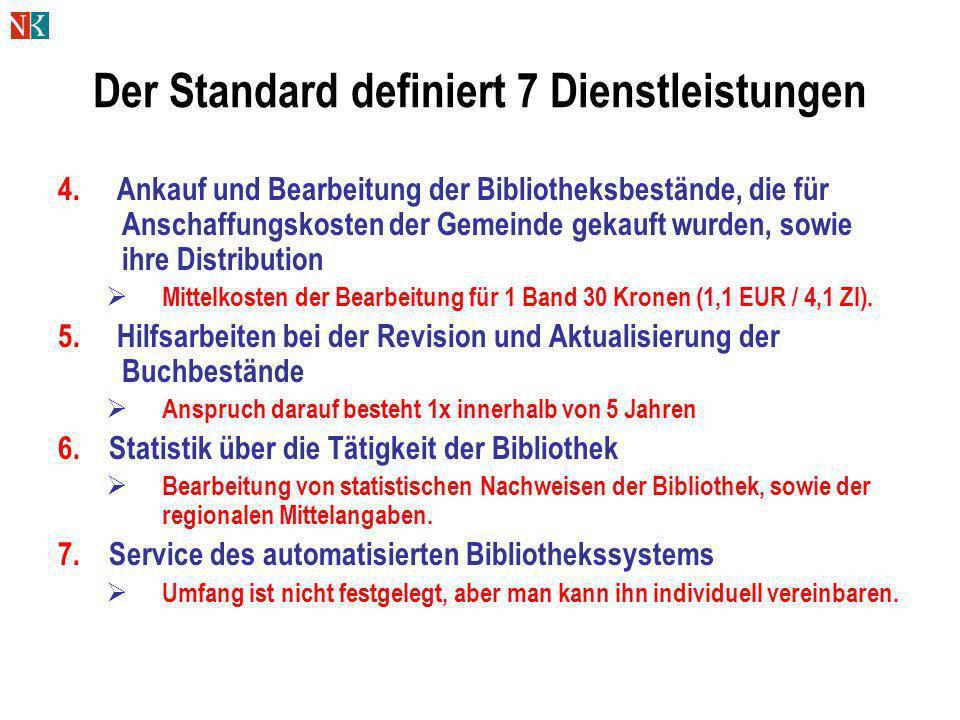 Der Standard definiert 7 Dienstleistungen 4. Ankauf und Bearbeitung der Bibliotheksbestände, die für Anschaffungskosten der Gemeinde gekauft wurden, s