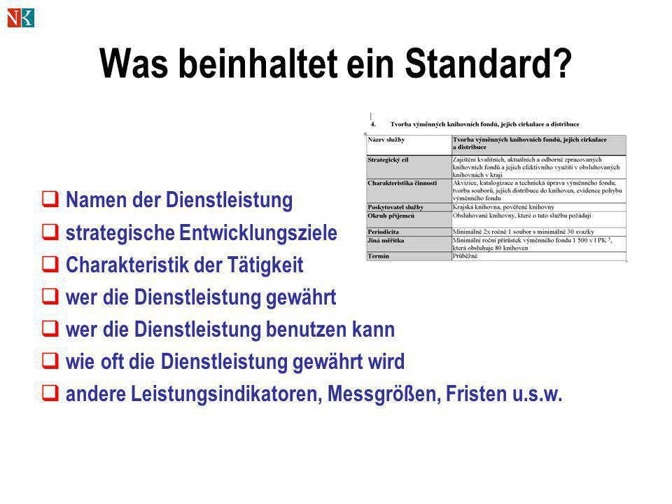 Was beinhaltet ein Standard? Namen der Dienstleistung strategische Entwicklungsziele Charakteristik der Tätigkeit wer die Dienstleistung gewährt wer d
