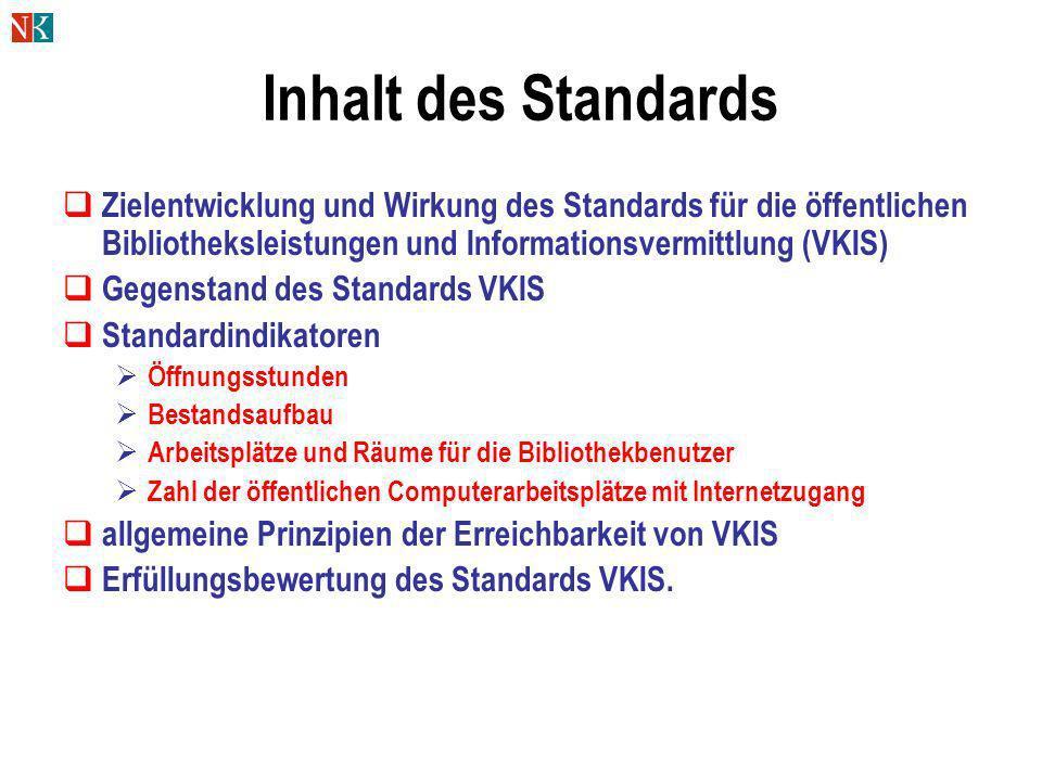 Inhalt des Standards Zielentwicklung und Wirkung des Standards für die öffentlichen Bibliotheksleistungen und Informationsvermittlung (VKIS) Gegenstan