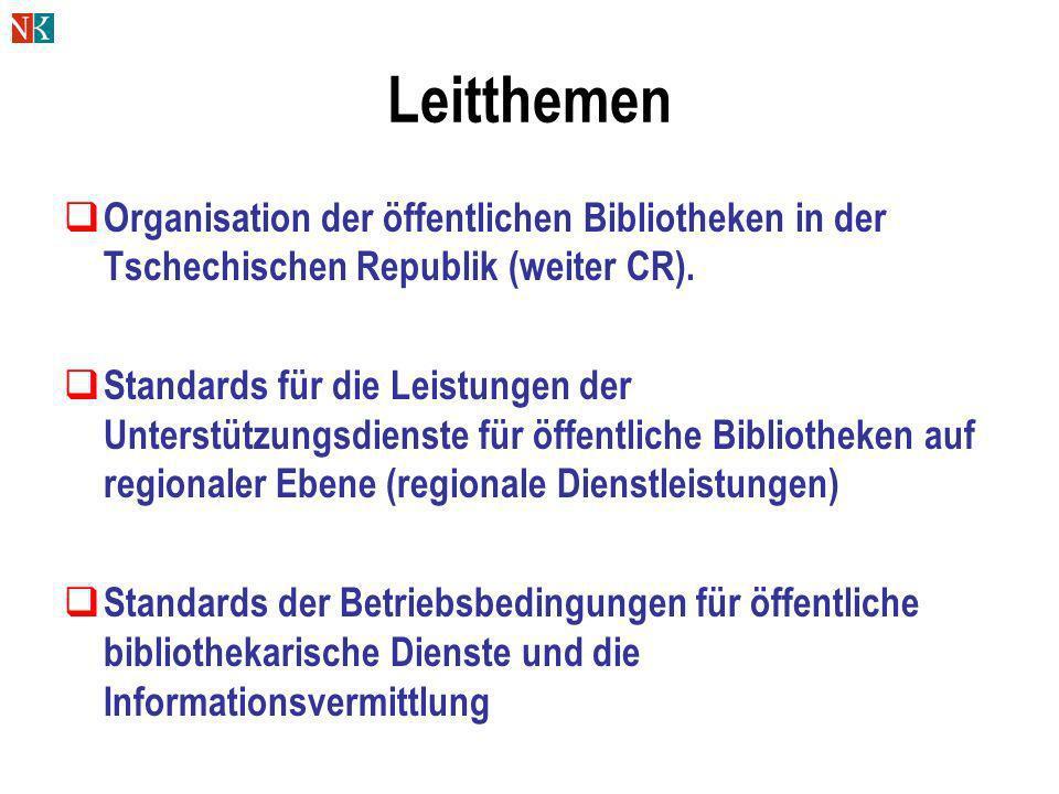 Leitthemen Organisation der öffentlichen Bibliotheken in der Tschechischen Republik (weiter CR). Standards für die Leistungen der Unterstützungsdienst
