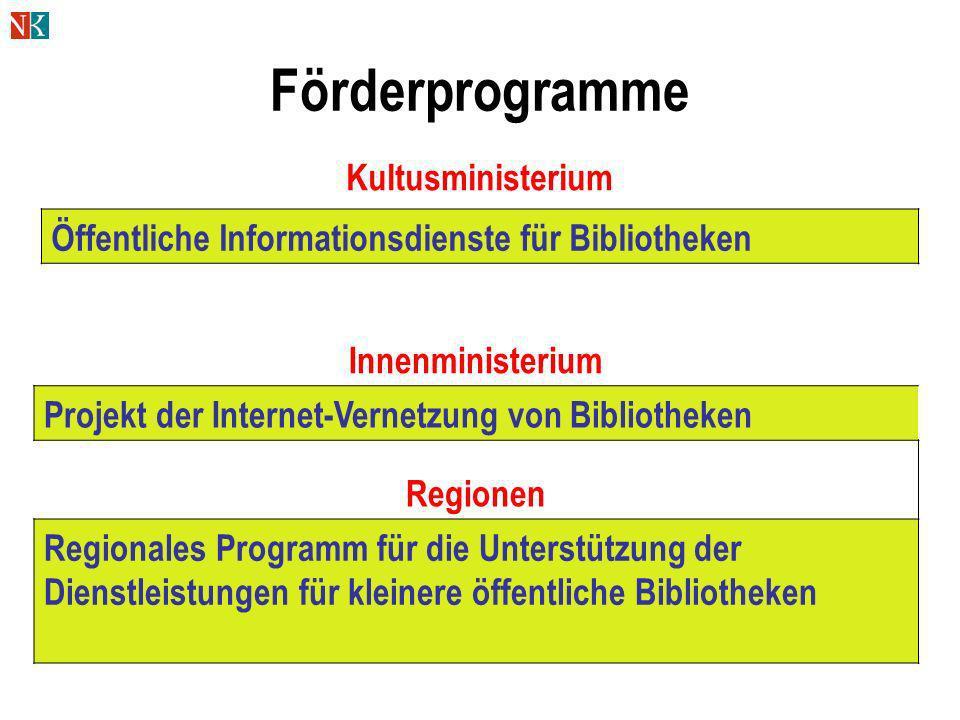 Förderprogramme Öffentliche Informationsdienste für Bibliotheken Innenministerium Projekt der Internet-Vernetzung von Bibliotheken Regionen Regionales