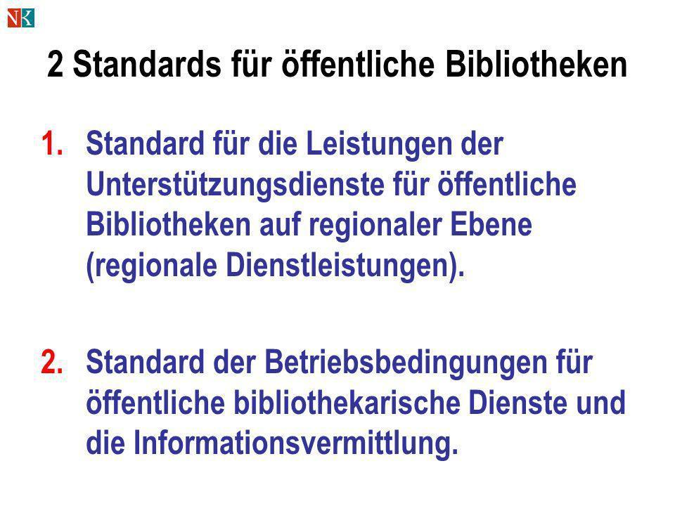 2 Standards für öffentliche Bibliotheken 1.Standard für die Leistungen der Unterstützungsdienste für öffentliche Bibliotheken auf regionaler Ebene (re