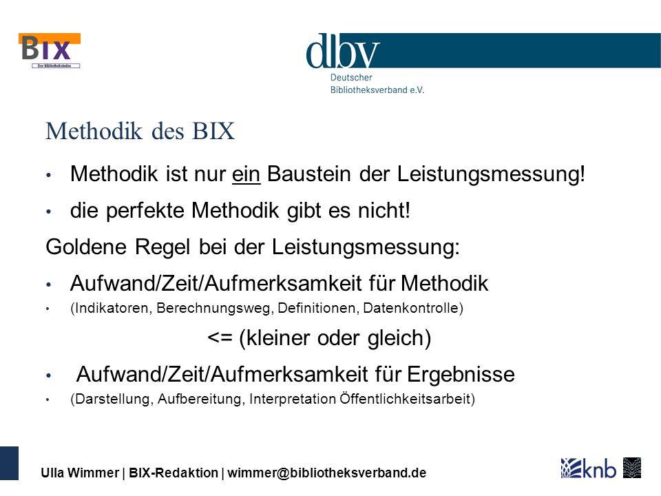 Ulla Wimmer   BIX-Redaktion   wimmer@bibliotheksverband.de Methodik des BIX Methodik ist nur ein Baustein der Leistungsmessung! die perfekte Methodik