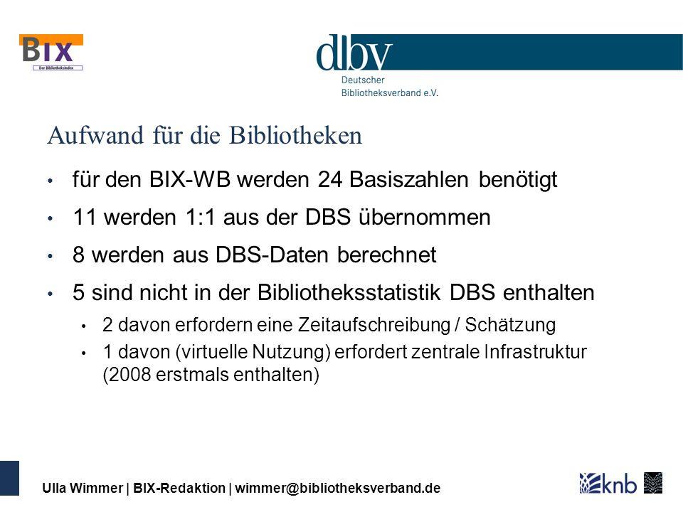 Ulla Wimmer   BIX-Redaktion   wimmer@bibliotheksverband.de Aufwand für die Bibliotheken für den BIX-WB werden 24 Basiszahlen benötigt 11 werden 1:1 au