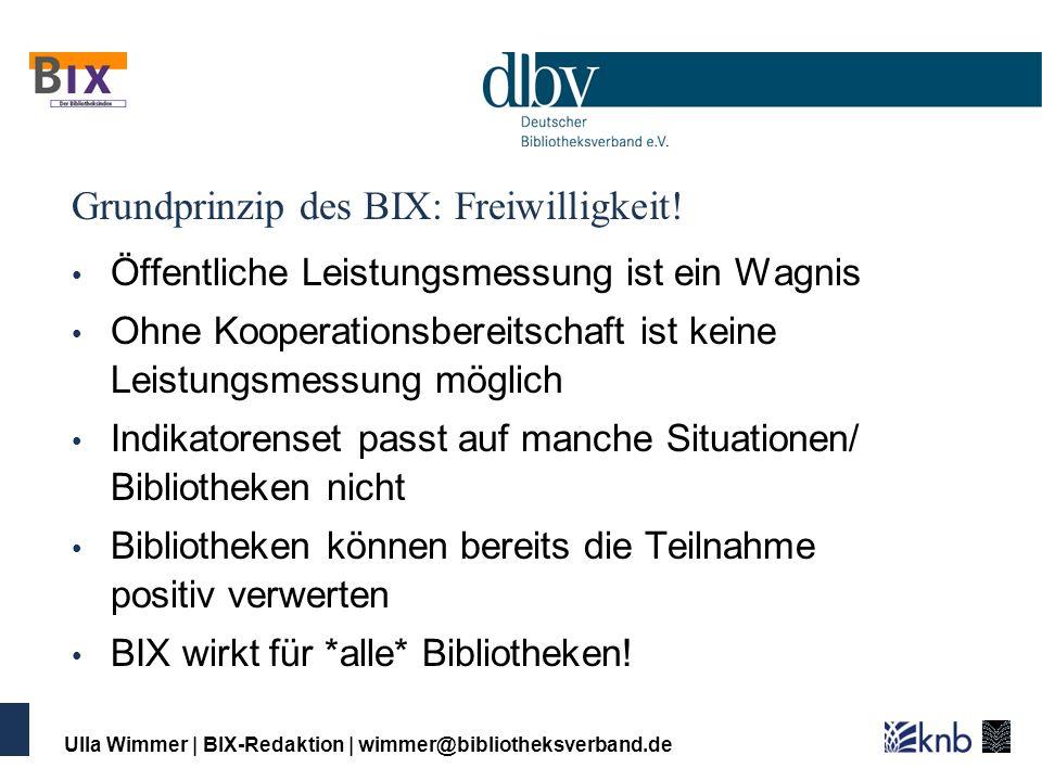 Ulla Wimmer   BIX-Redaktion   wimmer@bibliotheksverband.de Grundprinzip des BIX: Freiwilligkeit! Öffentliche Leistungsmessung ist ein Wagnis Ohne Koop