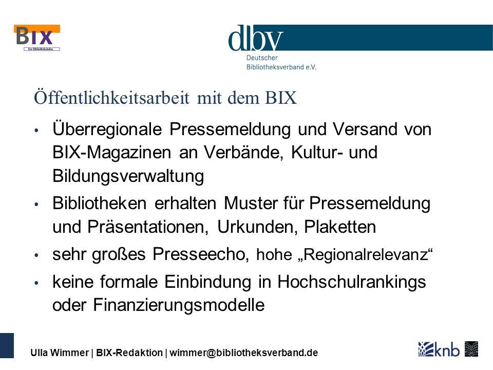 Ulla Wimmer   BIX-Redaktion   wimmer@bibliotheksverband.de Öffentlichkeitsarbeit mit dem BIX Überregionale Pressemeldung und Versand von BIX-Magazinen