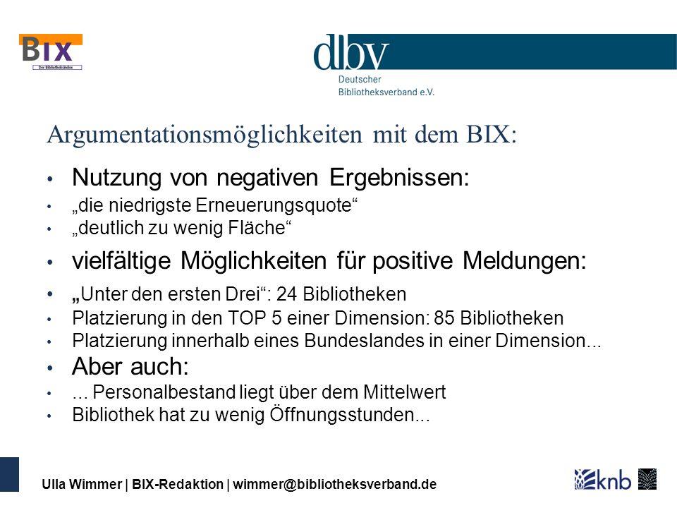 Ulla Wimmer   BIX-Redaktion   wimmer@bibliotheksverband.de Argumentationsmöglichkeiten mit dem BIX: Nutzung von negativen Ergebnissen: die niedrigste