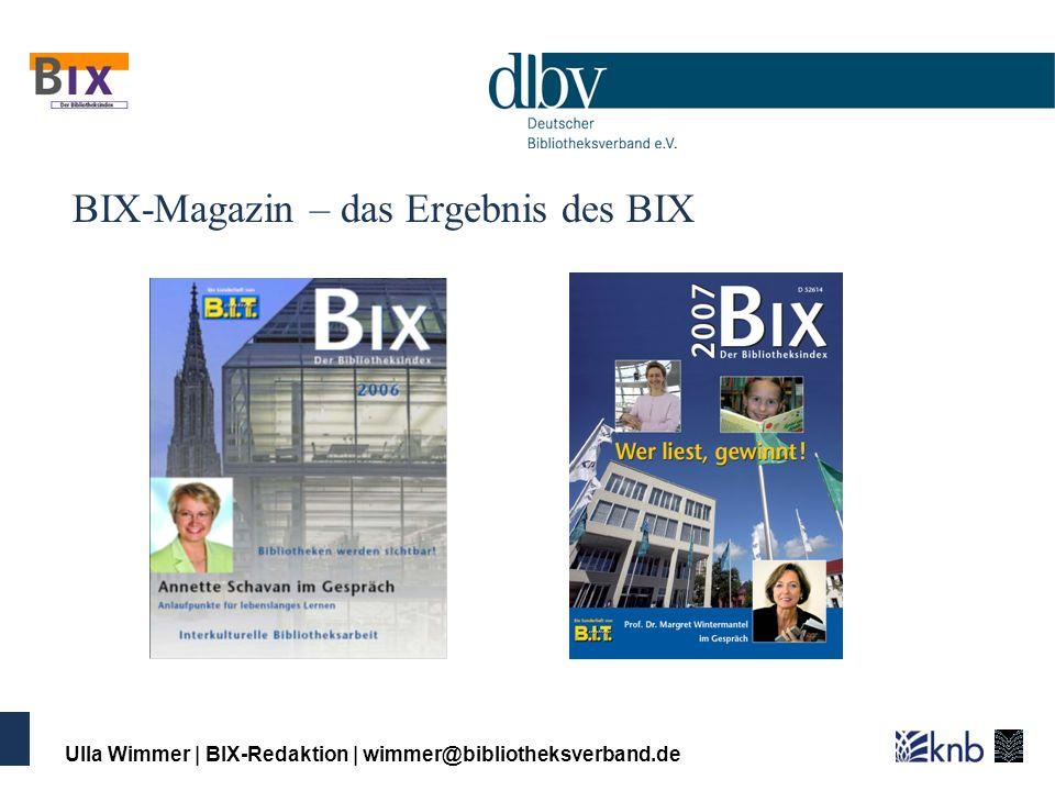 Ulla Wimmer | BIX-Redaktion | wimmer@bibliotheksverband.de Aufwand für die Bibliotheken für den BIX-WB werden 24 Basiszahlen benötigt 11 werden 1:1 aus der DBS übernommen 8 werden aus DBS-Daten berechnet 5 sind nicht in der Bibliotheksstatistik DBS enthalten 2 davon erfordern eine Zeitaufschreibung / Schätzung 1 davon (virtuelle Nutzung) erfordert zentrale Infrastruktur (2008 erstmals enthalten)