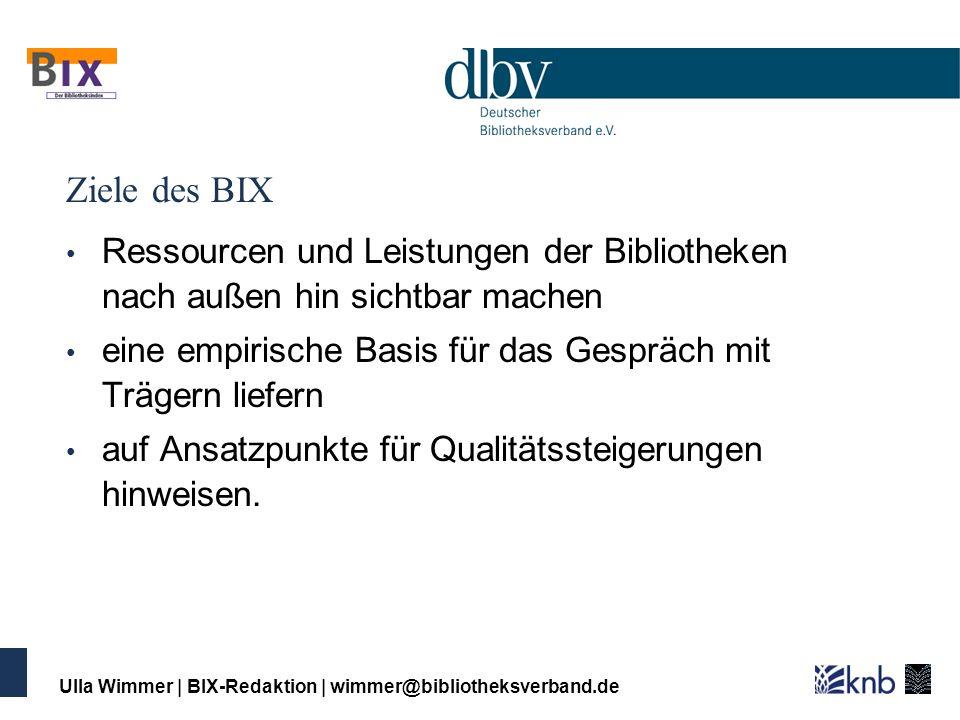 Ulla Wimmer | BIX-Redaktion | wimmer@bibliotheksverband.de BIX richtet sich nach außen: vor allem an Bibliotheksträger, Nutzerinnen und Nutzer, Presse, Öffentlichkeit, Bildungs- und Kulturverwaltung wenige Indikatoren hoch standardisiert stark verdichtet (Ranking) nicht anonym attraktive Präsentation