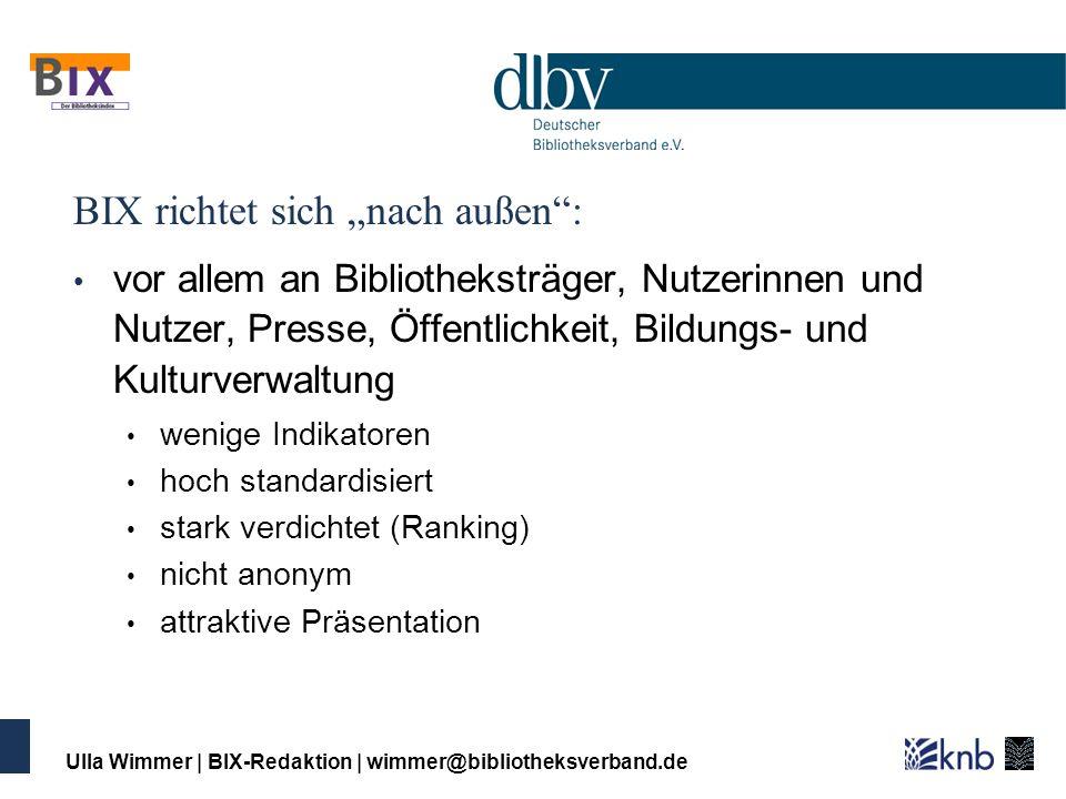 Ulla Wimmer | BIX-Redaktion | wimmer@bibliotheksverband.de Leistungsmessung nach innen: Daten für Managemententscheidungen erfordern: viele differenzierte Daten und Indikatoren individuelle Aufbereitung differenzierte Abfragen ggf.