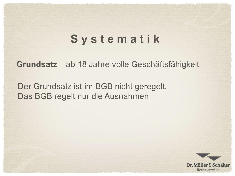 S y s t e m a t i k Grundsatzab 18 Jahre volle Geschäftsfähigkeit Der Grundsatz ist im BGB nicht geregelt. Das BGB regelt nur die Ausnahmen.