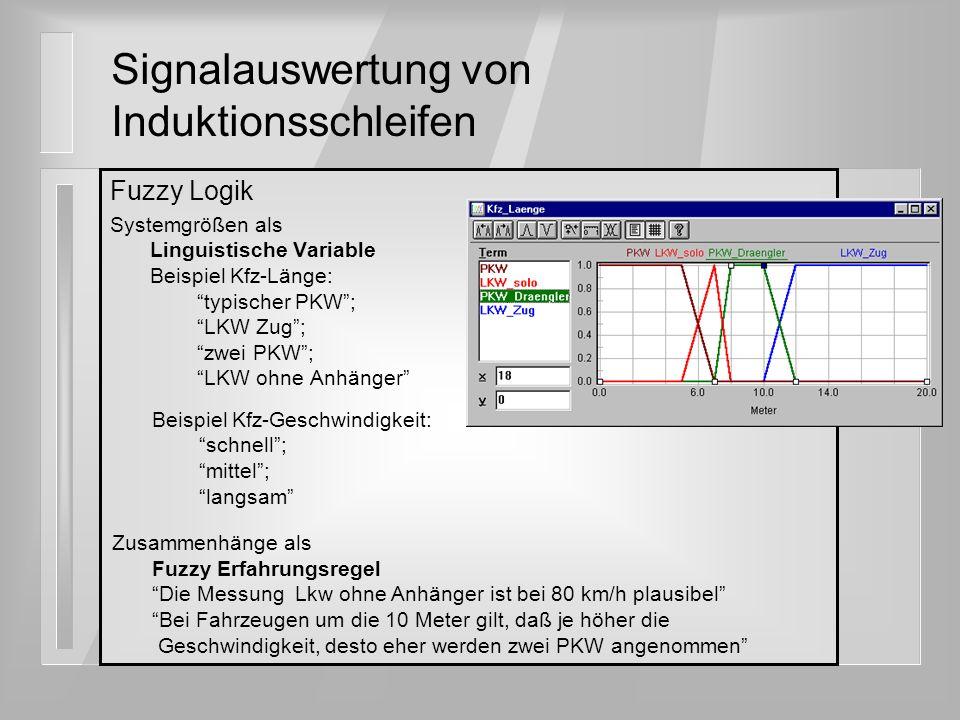 Fuzzy Logik Systemgrößen als Linguistische Variable Beispiel Kfz-Länge: typischer PKW; LKW Zug; zwei PKW; LKW ohne Anhänger Signalauswertung von Induk