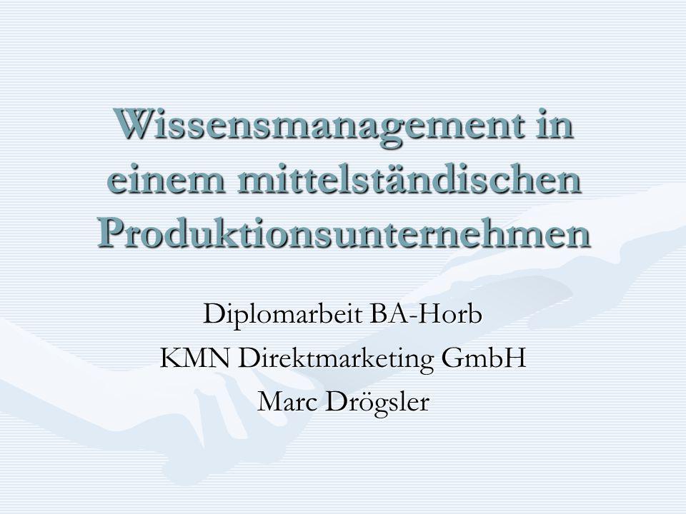 Wissensmanagement in einem mittelständischen Produktionsunternehmen Diplomarbeit BA-Horb KMN Direktmarketing GmbH Marc Drögsler